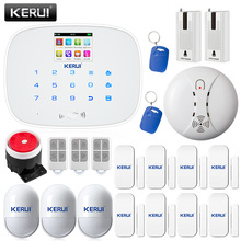 KERUI G19 GSM Home Security Alarm Systems LCD Touch Keyboard detector ios app Alarm System with door vibration sensor smoke