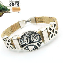 Natural cork made double cute owl women vintage Bracelet original lady handmade natural jewelry 17cm BR-137