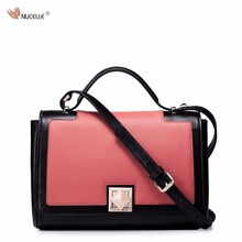 NUCELLE Brand Design Contrast Color Gold Pyramidal Lock Cow Leather Women Girls Ladies Handbags Shoulder Crossbody Dressing Bags