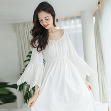 Vintage Sleepwear Women Nightgown Cotton Dressing Gown Long Dress Royal Princess Night Wear Comfortable & soft fabric(China)