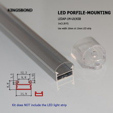 LED Aluminum Channel Profile, Aluminum Extrusion with clear cover U-Shape  for 12mm width 3528 5050 5630  LED Strip Lights
