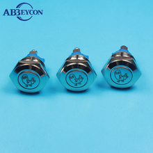 16mm flat round head metal button switch momentary screw terminal Chicken image button switch customized metal switchs(China)