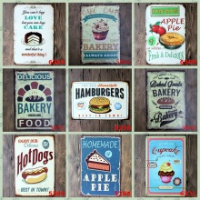 Food Cake Pie HOT DOG Vintage Tin Sign Humburger Retro Wall Art Painting Antique Iron Poster Ice Cream Metal Signs
