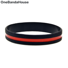 OneBandaHouse 50PCS/Lot Red Line Logo Silicone Wristband, It's Soft And Flexible Great For Normal Day To Day Wear(China)