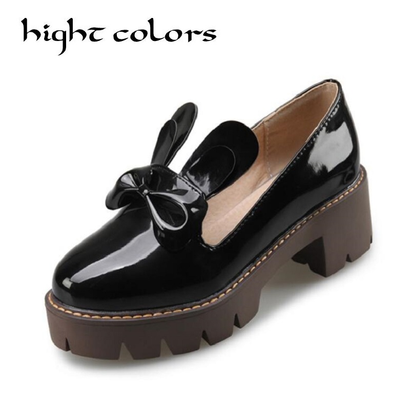 Rabbit Bowtie New Women British PU Patent Leather Platform High Heel Shoes Spring Round Toe Slip-on Casual Shoes Woman Pumps<br>