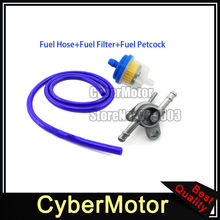 Blue Gas Fuel Hose Pipe Inline Filter Tank Tap Switch Petcock For Pit Dirt Motor Trail Bike ATV Quad 4 Wheeler Motorcycle
