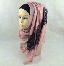 Wholesale Fashion Cotton Scarves Islamic Muslim Hijabs with Stones and Black Lace jd012