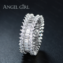 Angel Girl Hot Sales Luxury Rings Paved Rectangle Crystal&CZ Wedding&Engagement Rose Gold Color Ring Jewelry For Women R49-60730