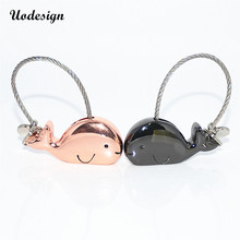 Uodesign 3D Whale Couple Keychain for Lovers Gift  Trinket Key Chains Car KeyChain Chaveiro Innovative Items