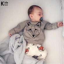 RY-166 New style cotton newborn set cartoon fox printed baby costume spring autumn t-shirt+ pants 2 pcs clothes for bebes 2017(China)
