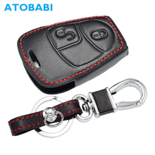 ATOBABI Leather Remote Keychain Smart Key Case Protector Holder Mercedes Benz C180 1998-2004 W202 2 Buttons Car Key Cover