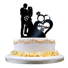 Valentine's Day Mr&Mrs Acrylic Wedding Cake Topper Glitter Gold Cake Stand Topper Party Cake Decorating Supplies
