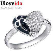 Zirconia Drop Shipping Promotional Rose Gold Platinum Plated Enamel Black with Crystal Austrain Crystal Heart Ring Products J214