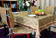 SMTT003 130*180cm customization European style chenille gold flowers print tablecloths  table mats  chair cover free shipping