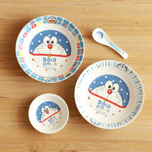 one person use dinner set for kids new cute doraemon ceramic bowl with cover preservation bowl Food deep flavor dish and spoon