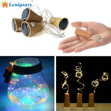 LumiParty 8LED/10LED Solar Powered Wine Bottle Cork Shape LED Fairy Strip Copper Garland Festoon Wire String Christmas Light k30(China)