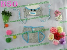 Free shipping,Newborn Baby Crochet Monkey Hat and Diaper Cover Photography Photo Prop