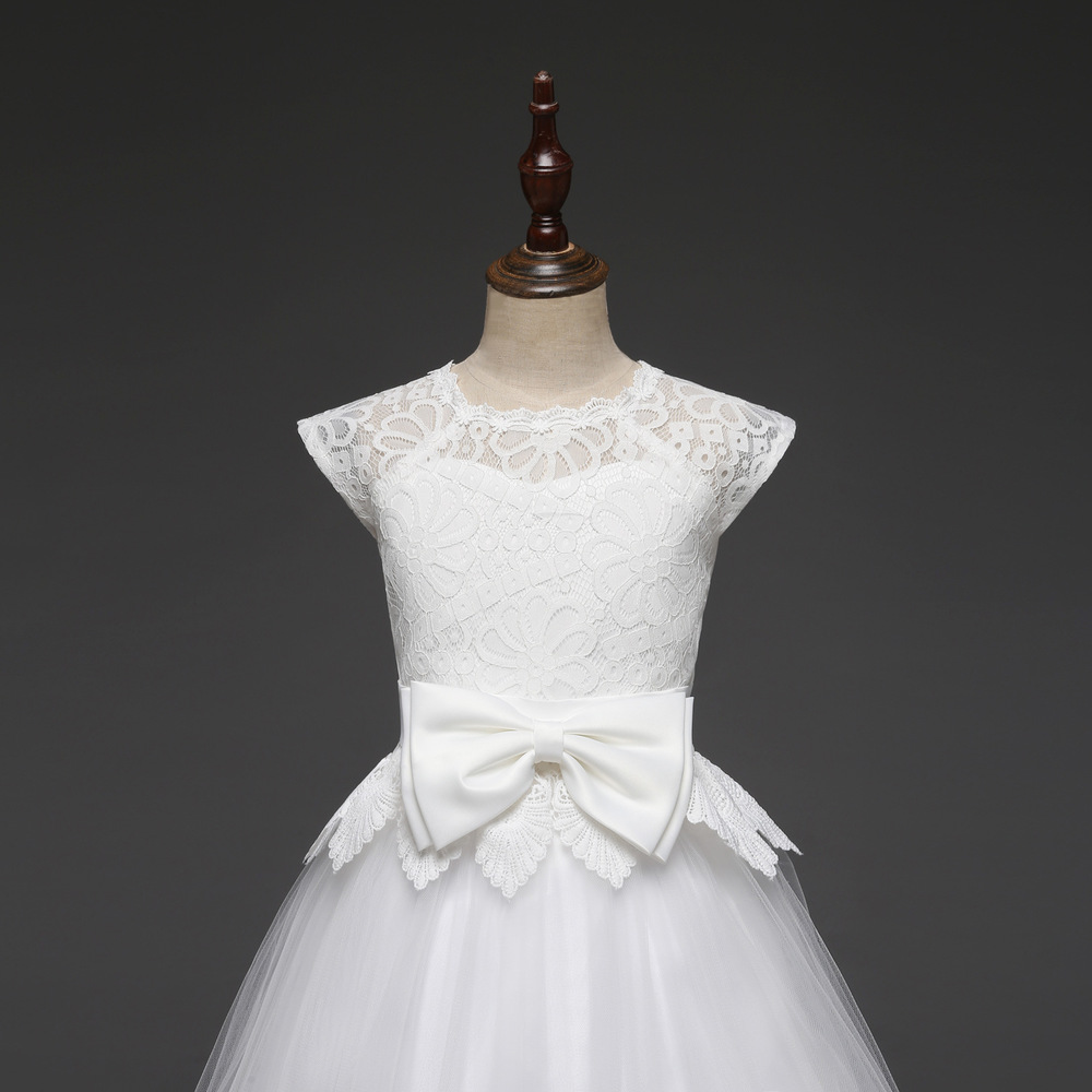 Lace Teen Girls Dress 2018 New Tule Child Wedding White Princess Pageant Gown Bridesmaid Dresses For Kids Party Evening Clothing (13)