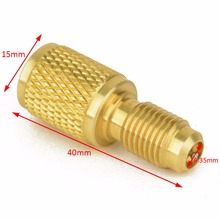 "1pc 1/4"" Male To 1/2"" Female W / Valve Core Brass Adapter Fitting ACME A/C R134a"