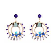 Gold Alloy Circle Blue Purple Crystal Statement Earrings 2017 New Ethnic Earrings Fashion Jewelry Alli express