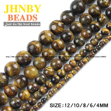 JHNBY Tiger Eye beads Yellow Natural Stone Top quality Round Loose beads ball 4/6/8/10/12MM handmade Jewelry bracelet making DIY