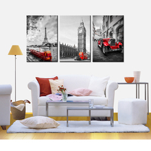 JIE DO ART Modern Canvas Living Room Home Decor 3 Panel Eiffel Tower Big Ben Paris Printed Pictures Painting Wall(China)