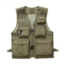 ZEESHANT XXXL Multi-pocket Mesh Fly Vest Waterproof Men's Vest Jacket Waistcoats Supplies Solid Color in Men's Vests