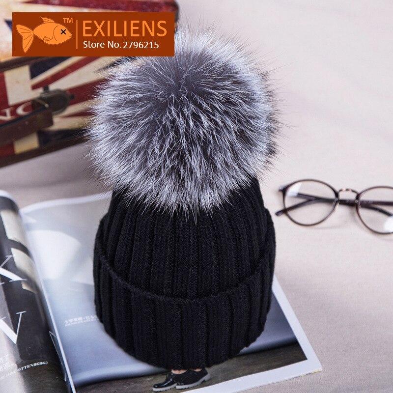 Lady Real Racoon Fur Gray Pom pom Wool Winter Hat For Women Warm Knitted Bobble Hats Caps Ski Hip Hop Skull Cap Bonnet Black HotÎäåæäà è àêñåññóàðû<br><br><br>Aliexpress