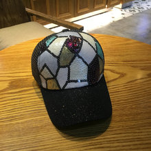 2018 fashion baseball cap summer Sequins peaked caps for women Net cap(China)