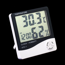 LCD Digital Thermometer Hygrometer Temperature Humidity Meter Clock Weather Station Indoor ALI8(China)