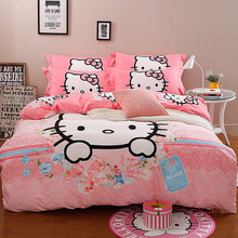 2017 Cotton Bedding Set Hello Kitty duvet cover Bed linens 4pcs bed set Home Breathable kids bedding sets jogo de cama casalcama