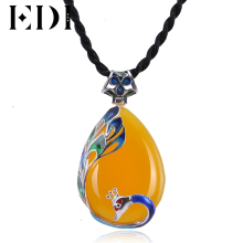 EDI 925 sterling silver necklaces & pendants Topaz Gemstone Pendant Vintage yellow Peacock Jade Pendant Fine Jewelry for women(China)