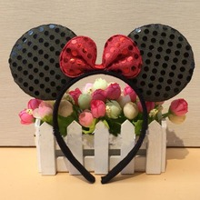Free shipping,children adult black red pink sequin New Minnie mouse ear headband Hairbands with bow(China)
