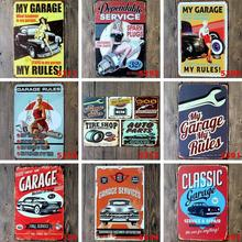 5pcs/Lot Car Garage Vintage Meta Sign Street Road Poster Iron Painting Decorative Plates Home Office Decor 20x30cm(China)