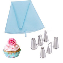 Pastry Bag Nozzles Decorating Set 1 Blue Pastry Bag and 6 Nozzles in Different Patterns Cake Dessert Decorator Kit