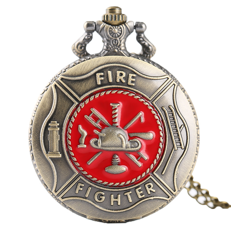 Antique Bronze Pocket Watch Classic Red Fire Fighter Symbol Carving Slim Necklace Creative Students Boys Clock Best Fireman Gift (1)