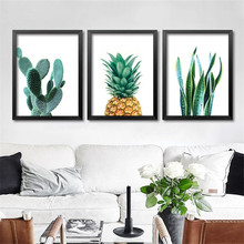 Modern Minimalist Art Canvas Print Posters,Cactus pineapple on canvas wall picture paintings for Living Room Home Decor DP0445