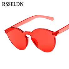 RSSELDN New One Piece Lens Sunglasses Women Transparent Plastic Glasses Men Style Sun Glasses Clear Candy Color Brand Designer(China)