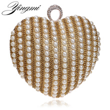 Newest hot selling women bag factory price evening bag wedding beaded rhinestones finger rings heart shaped day clutch