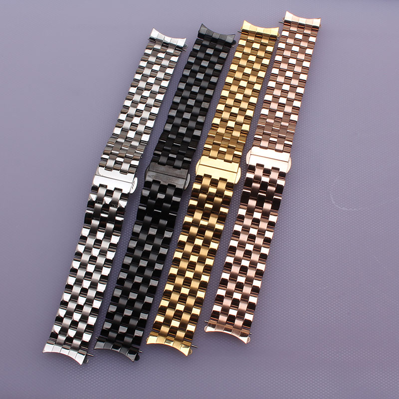 20mm Watchbands New Man Woman Silver Polished Brushed Stainless Steel Curved End watchband Strap Bracelet Belt For wristwatch<br><br>Aliexpress