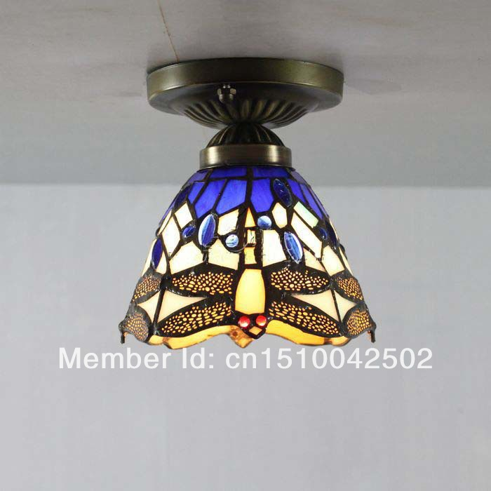 Tiffany glass ceiling lamp bedroom European-style garden living room hallway Dragonfly Light DIA 15 CM H 15 CM<br><br>Aliexpress