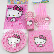 81pcs\lot Hello Kitty Decoration Paper Napkins Tablecloth Baby Shower Kids Favors Cups Plates Birthday Straws Party Supplies