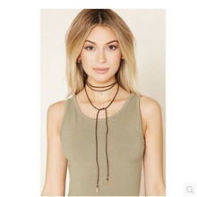 The knight spirit of Bohemia ethnic music festival suede necklace rope neutral Hippie slender neck silk female god #2
