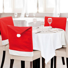 Hot Santa Claus Hat Chair Covers 65cm*50cm Cute Red Cloth Christmas Decoration Supplies For Dining Table Party(China)