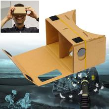 1x DIY Cardboard VR Virtual Reality 3D Glasses For iPhone Google phone Yellow APE(China)