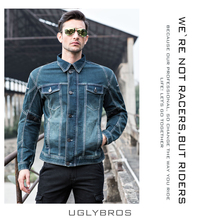uglyBROS UBJ04 Men's motorcycle jacket denim clothing classic retro bike racing suit winter models 2 colors Black Blue