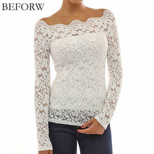 BEFORW Women Lace Blouse Casual Long Sleeve Plus Size Off The Shoulder Tops For Women Sexy Lace Embroidery Black White Blouses