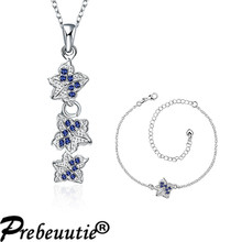 Special design for European buyers!Copper blue zircon silver plated jewelry sets:pendant necklace, anklet