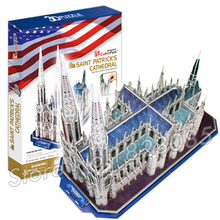 117PCS Saint Patrick's Cathedral 2016 New 3D Puzzle DIY Jigsaw Assembly Model Building Set Architecture Creative Children Toys