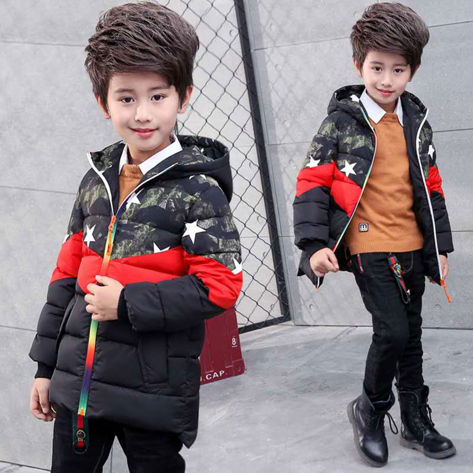 3T-12Yrs Kids Toddler Boys Cotton Coat & Outwear Regular Hooded For Children Clothing Casual Baby Boys Clothes Winter Parkas